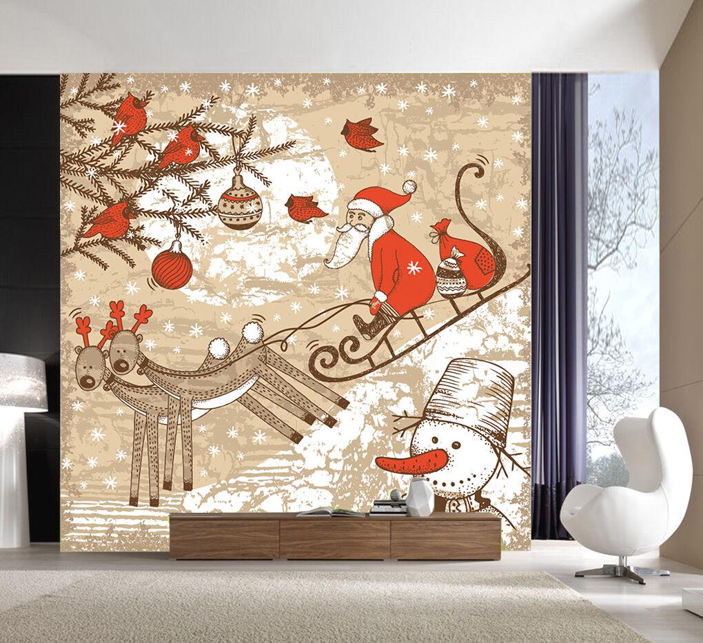 3D Christmas Deer 443  Wall Paper Wall Print Decal Wall Deco Indoor Wall