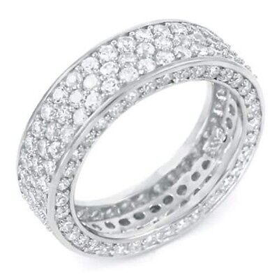 ALL CZ Eternity Sterling Silver Band with Russian Cz's - Very popular S123A