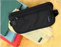 DISCREET MONEY TRAVEL WAIST BELT ZIPPED PASSPORT WALLET POUCH BUM BAG SECURITY