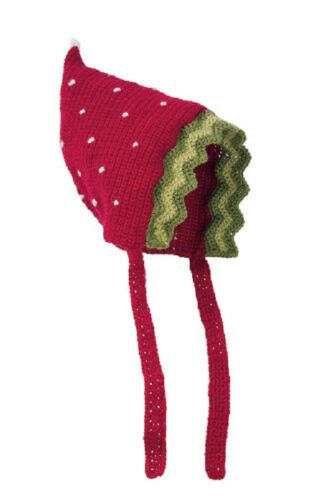 San Diego Hat Daylee Design  RED STRAWBERRY Pixie Bonnet 12-24 mos 1-2 year gift