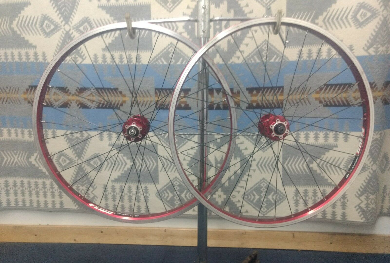26  Mountain Bike Wheels Redline 6 Bolt Disc Red Anodized rims Alexrims DM 24