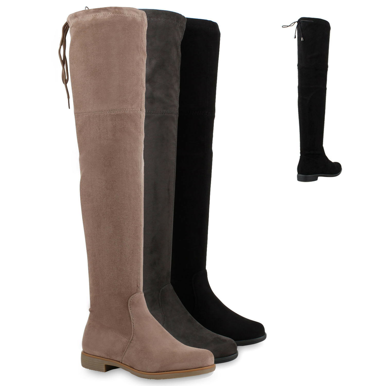 Sexy Damen Overknees Wildlederoptik Langschaft Stiefel 78753 Bequem Schuhe