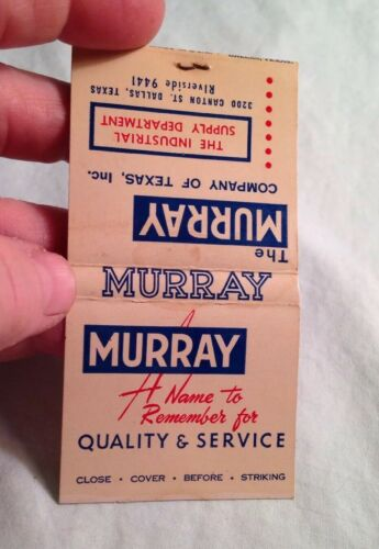 """Matchbook 1940/'s COLLECTABLE AMAZING PRINTED STICKS /'Murry Machinery of Texas/"""""""