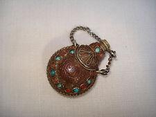 Petit Flacon oriental Pendentif de chatelaine - Antique miniature Scent Bottle