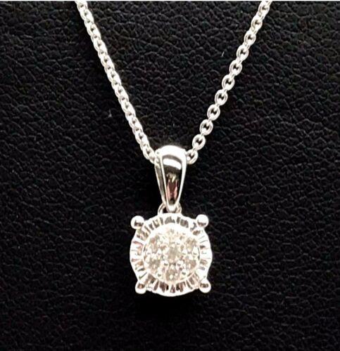 Sterling Silver Flower Diamond Cluster Petite Elegant Illusion Pendant Necklace