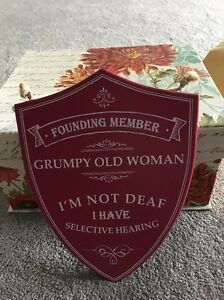 Red Wooden Plaque Humour Deaf Old Women - Leeds, North Yorkshire, United Kingdom - Red Wooden Plaque Humour Deaf Old Women - Leeds, North Yorkshire, United Kingdom