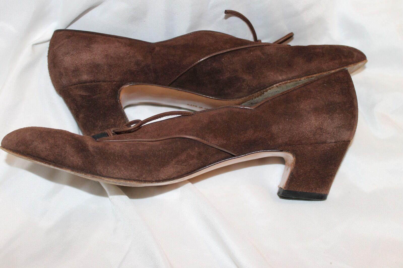 Salvatore Ferragamo braun Suede Leather Lace Loafer Heels Heels Loafer 8 AA (Narrow) 7314f5