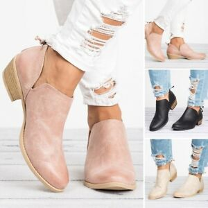 Women-039-s-Low-Mid-Block-Heel-Ankle-Boots-Ladies-Chunky-Casual-Booties-Shoes-Size
