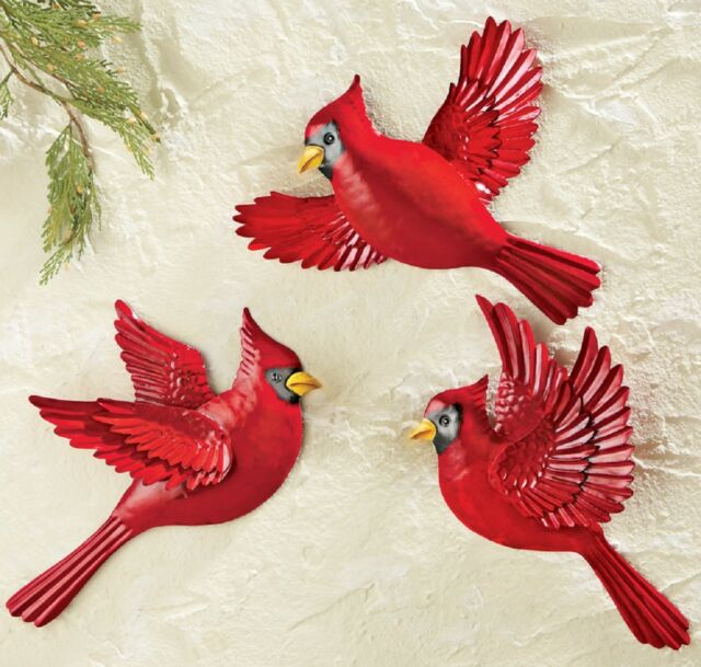 3 Pc Red Cardinal Birds Metal Outdoor Hanging Wall Art Porch Fence Decor 8 X11