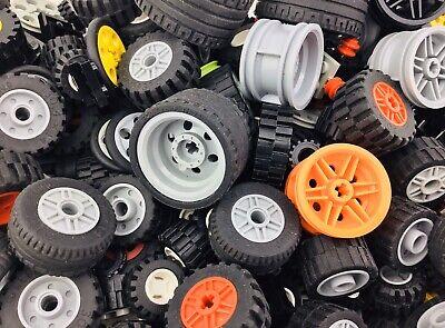 LEGO  50 Piece Bulk Lot  Wheels Tires Axles Rims Hubs Parts Pieces   FREE FAST!