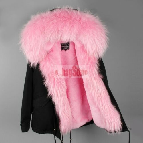 Fashion Women/'s Large Real Raccoon Fur Coat Hood Jacket Winter Warm Short Parka
