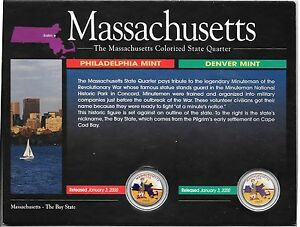 2000-P-amp-D-Massachusett-Colorized-State-Quarters-in-Display-Card-No-COA