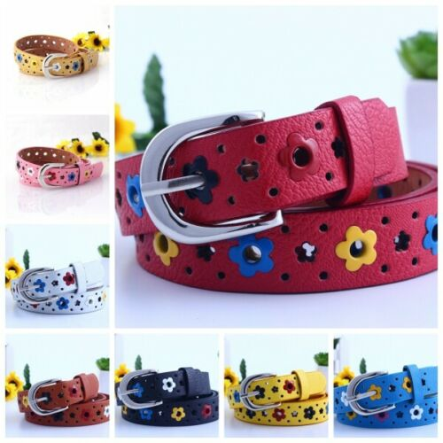 Toddler Flower Belt Buckle Faux Leather Kids Girls Boy Child Waistband Colorful