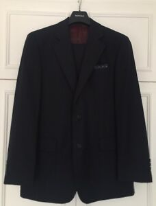 Mens Austin Reed Wool Cashmere Navy Fine Check Suit Trousers 34l Jacket 40r Ebay