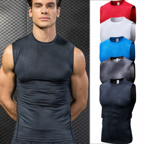 Mens Fitness Gym Tank Tops Compression Wicking Quick-dry Tight fit Printed Shirt