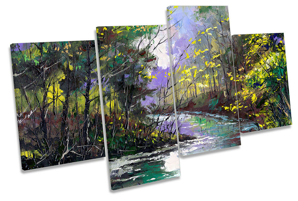 Grün Forest River Landscape MULTI CANVAS WALL ARTWORK Print Art