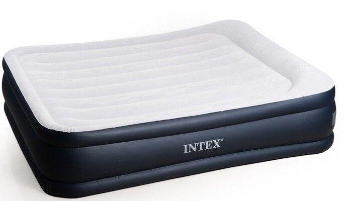 Intex lit d'air 64136 Lit d'appoint matelas gonflable 152x203x42cm intégrée Pompe Sac
