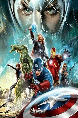 AVENGERS MOVIE POSTER ~ POWER 24x36 Iron Man Thor Captain America Hulk Loki The