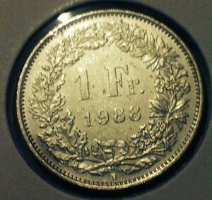Switzerland Helvetia Coin 1 Franc 1988 Copper Nickel Nice Coin Ebay