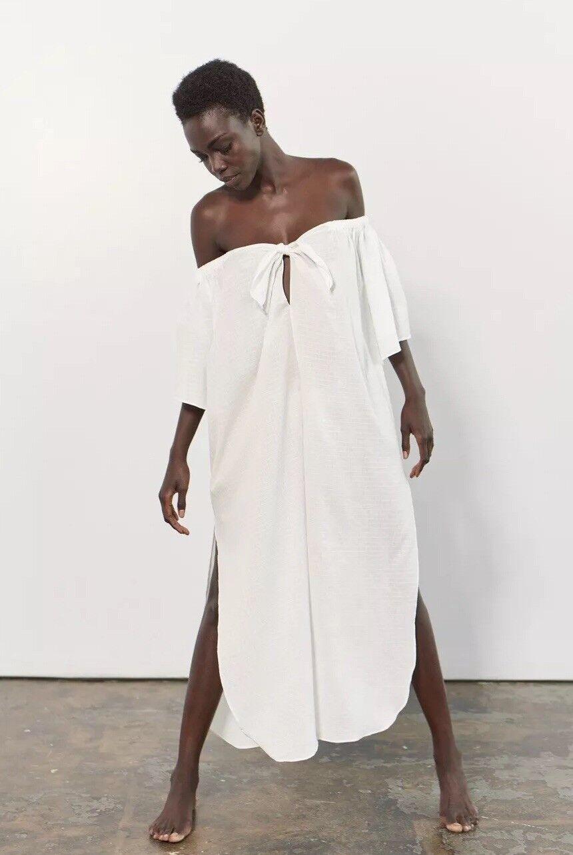 NEW Mara Hoffman Kamala Off Shoulder Dress Size Medium Ivory Beach Cover Up Swim