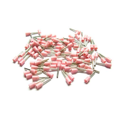 Aderendhülsen isoliert 0,34 mm² 100 Stück rosa pink