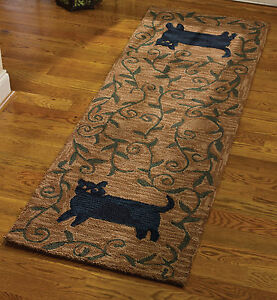 New Primitive Country Folk Art Black Cat Wool Hooked Rug