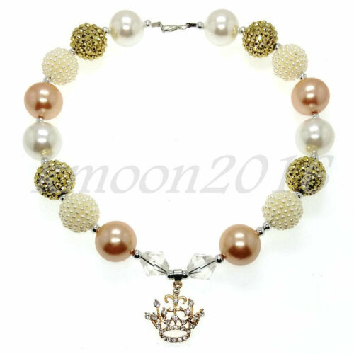 Crystal Golden Crown Chunky Beads Bubblegum Gumball Jewlery Necklace X-MAS Gift