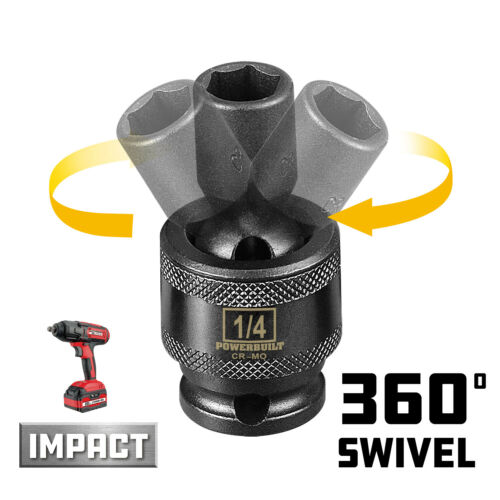 647210 Powerbuilt 1//4-Inch Drive 1//4-Inch Universal Impact 6 Point Socket