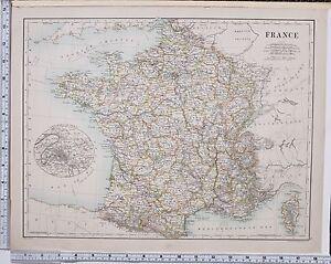 LARGE ANTIQUE MAP FRANCE INDRE MAINE SOMME LANDES ENVIRONS - Large map of paris france