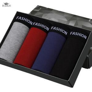 4 Pack Men's Cotton Soft Boxers Solid Underwear Shorts FASHION 4 Colors L-3XL