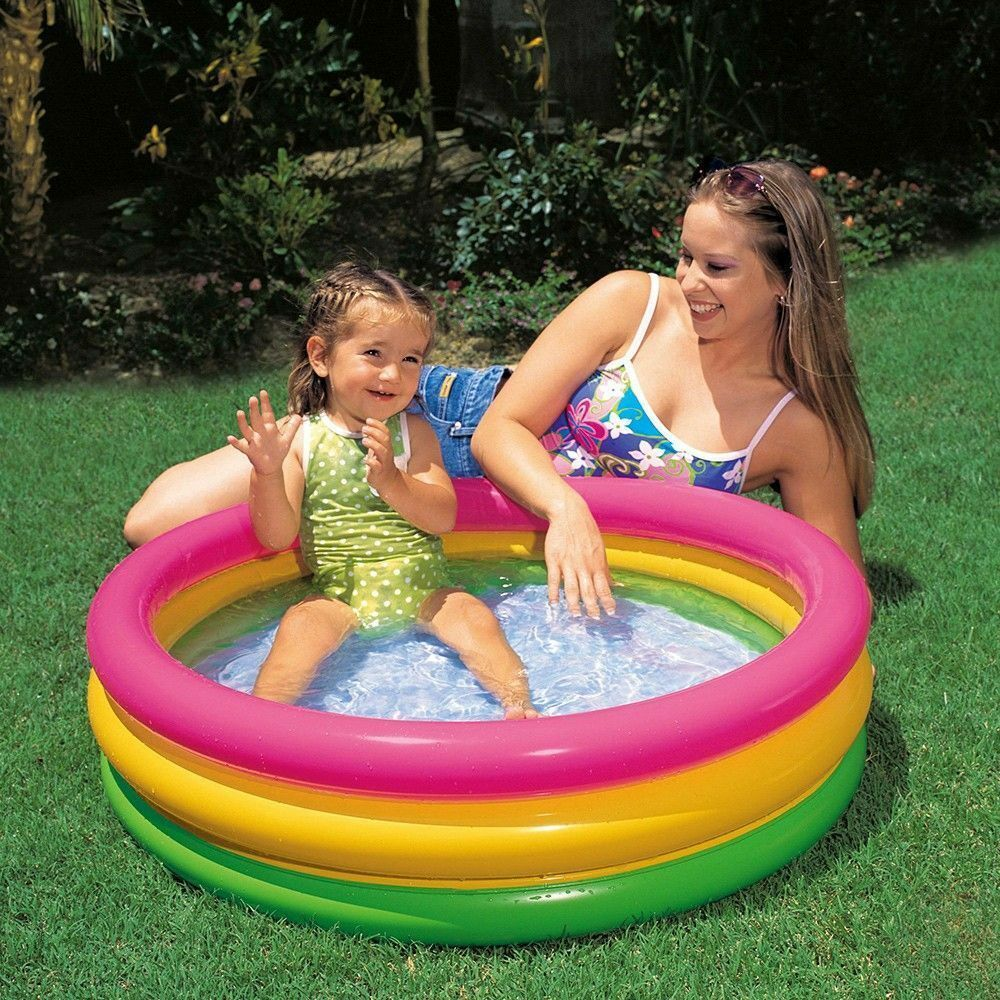 Inflatable Pool Rounded Rainbow for Children the Garden And above-Ground Intex