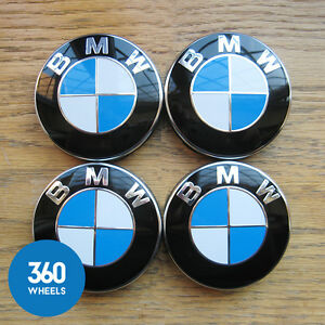 GENUINE-ORIGINAL-BMW-ALLOY-WHEEL-CENTRE-CAPS-SET-4-BADGES-SERIES-36136783536