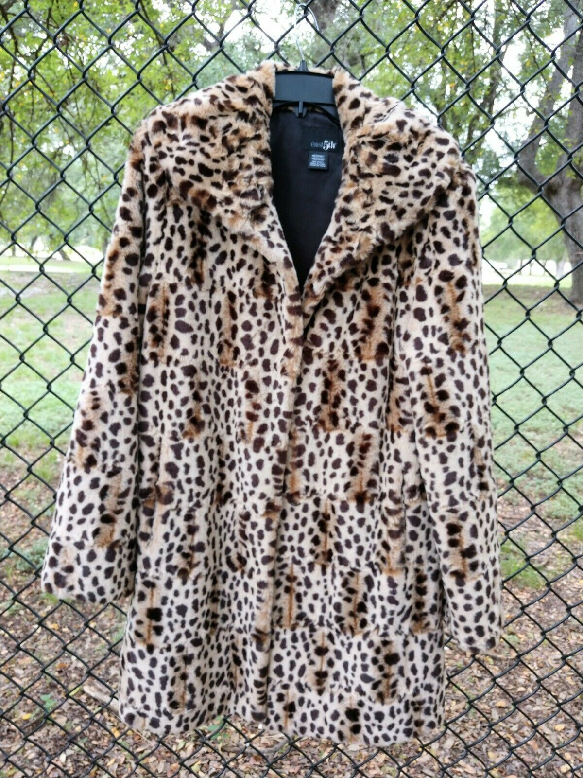 Faux Spotted Ocelot M Fur 3/4 Coat by East 5th Co. Fold Over Collar