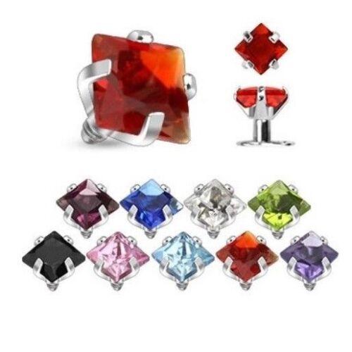 Acier carré zircone cubique Top Micro Dermal Piercing Jewelry Interne Filetage 14 G 2/&3mm A5