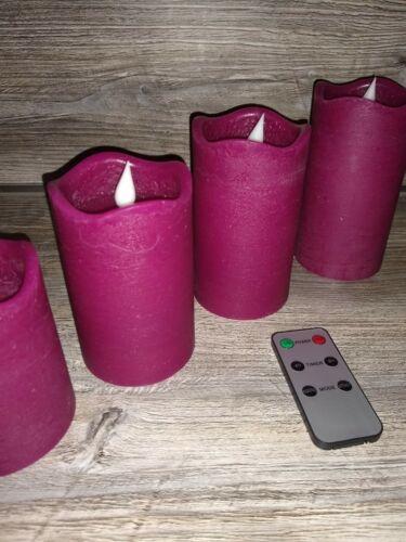 LED Stumpenkerzen mit FB 6er Set Beere Echtwachs Sonderpreis bekannt aus dem Tv