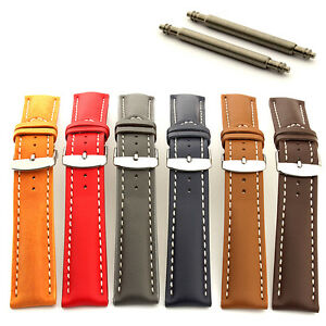 Men's Padded Genuine Leather Watch Strap Band SS. Buckle 18 20 22 24 Sahara MM