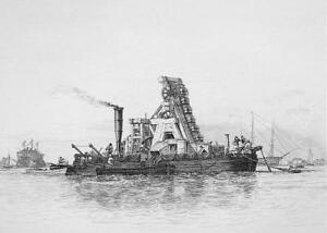 PORTSMOUTH-HARBOR-Mud-Dredger-Boat-Original-Etching-print-by-E-W-Cooke