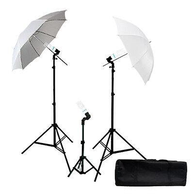 "43"" Photography White Umbrella Photo Studio 3 Light Stand lighting Reflector Kit"
