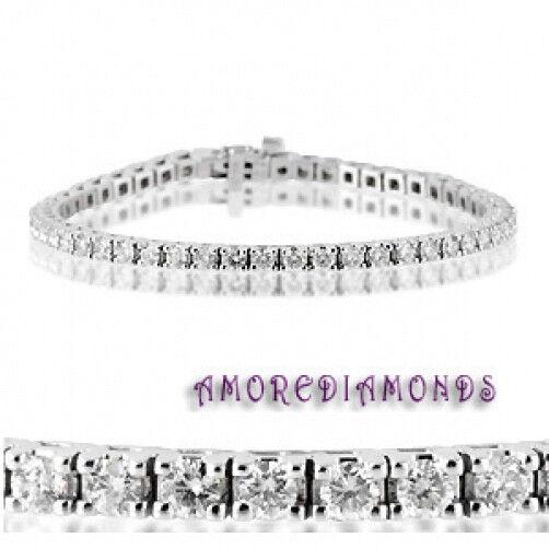 6.78 ct round ideal cut diamond 4 prong tennis bracelet white gold G VS2 7 inch