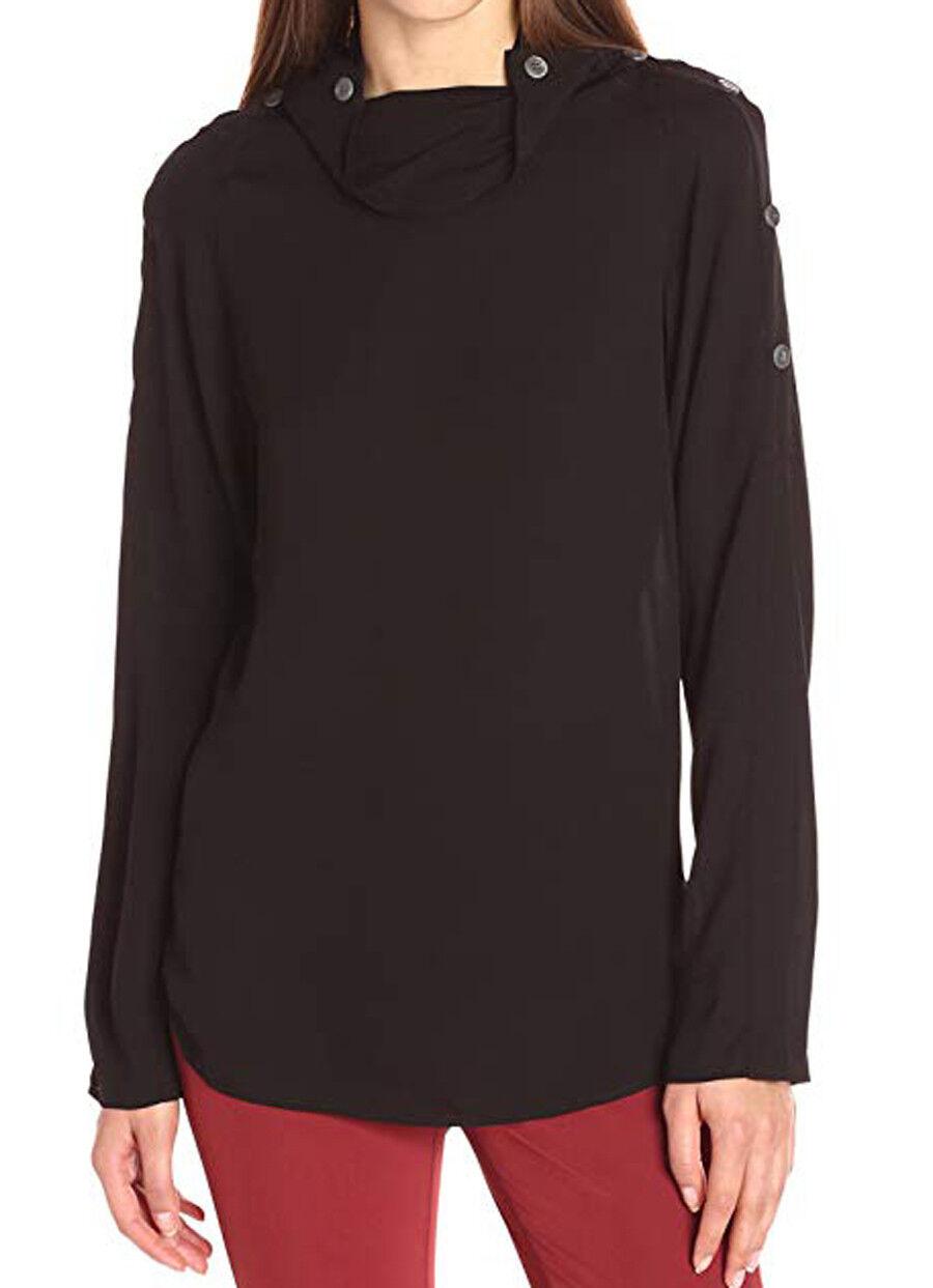New with Tag -  THEORY Brilivna Silk schwarz Button Shoulder Blouse Größe S