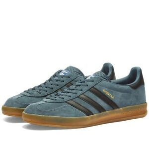 Details about Adidas Gazelle Indoor Legacy Blue Trainers in Gum & Core Black