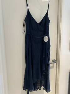 Spirited Pilgrim Aaron Midi Dress Navy Size 12 Bnwt