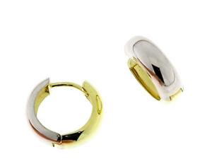 Echt Gold 333 Ohrringe bicolor Frauen Scharnier Creolen mit Zirkonia Steinen Neu