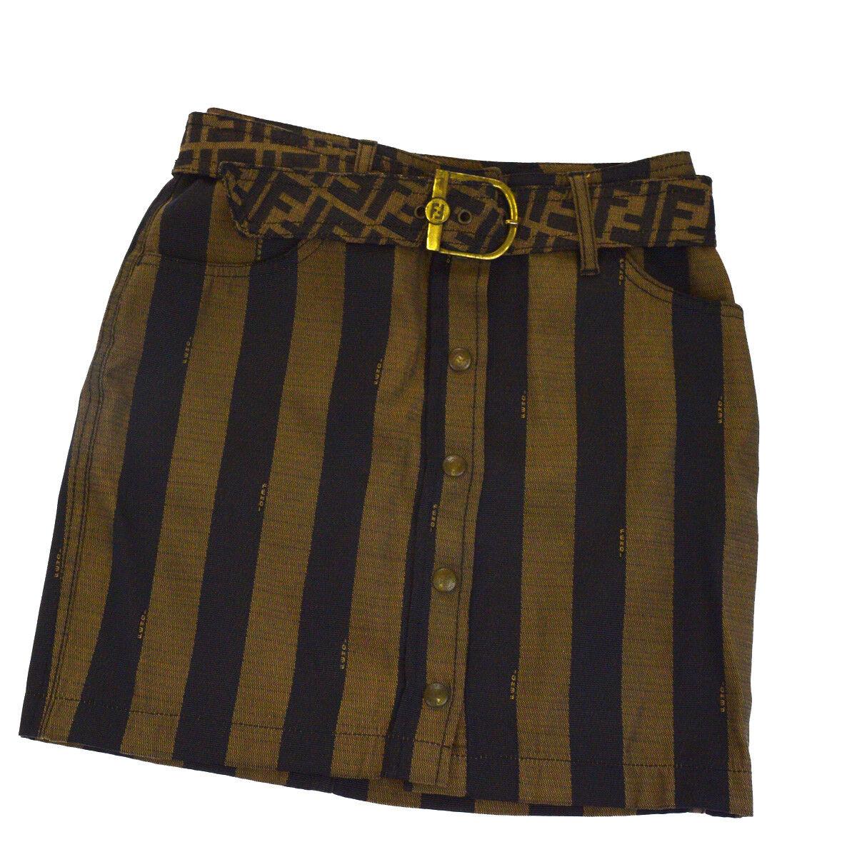 Authentic FENDI Pequin Zucca Aline Tight Skirt Polyester Cotton Brown 34E011