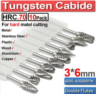 10Pcs 1//4 Head Tungsten Carbide Double Cut Rotary Burr Set 1//8 Inch Shank Bit GA