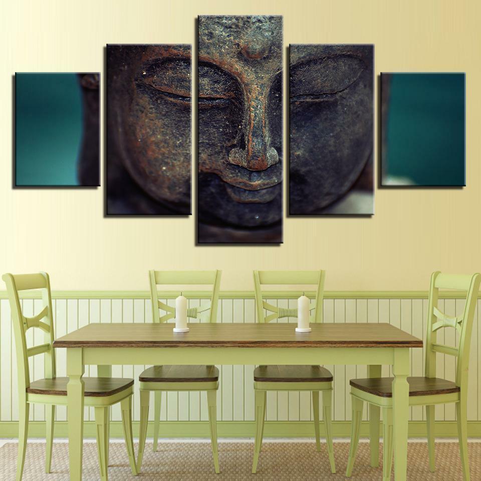 Buddha Face Religious Closeup 5 Pieces Canvas Wand Decorating Poster Home Decor
