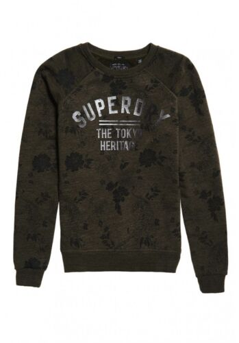Haut Femme Superdry Laurier AOP Sweat kaki Tiger Floral Pull Sweat Vert