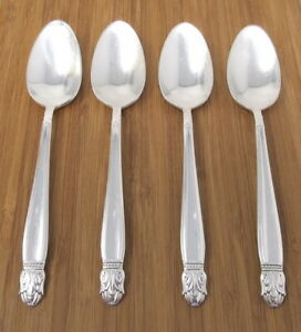 Holmes & Edwards Danish Princess Teaspoons Inlaid Silverplate Set of 4 Lot IS