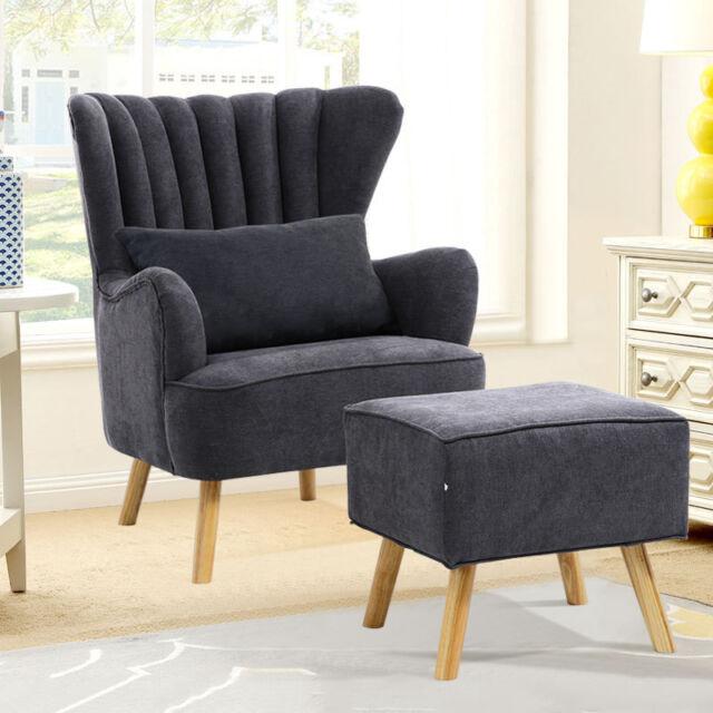Fernsehsessel Wohnzimmer Stuhl Sessel mit Hocker Polstersessel  Ohrenbackensessel