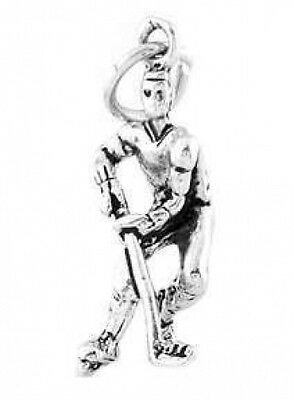 Sterling Silver Antiqued Hockey Player Charm